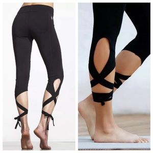 Free People Pants & Jumpsuits - FREE PEOPLE turn out lace tie up black leggings